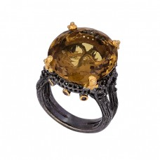 Faceted Oval Shape Citrine Gemstone 925 Silver Black Rhodium Ring