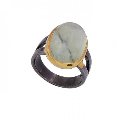 Oval Shape Prehnite Chalcedony Gemstone 925 Silver Black Rhodium Ring