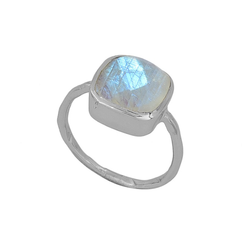 Cushion Shape Rainbow Moonstone 925 Sterling Silver Gold Plated Ring