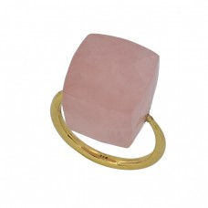 Square Shape Rose Chalcedony Gemstone 925 Sterling Silver Gold Plated Ring