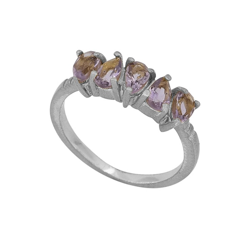 Faceted Pear Shape Amethyst Gemstone 925 Sterling Silver Gold Plated Ring