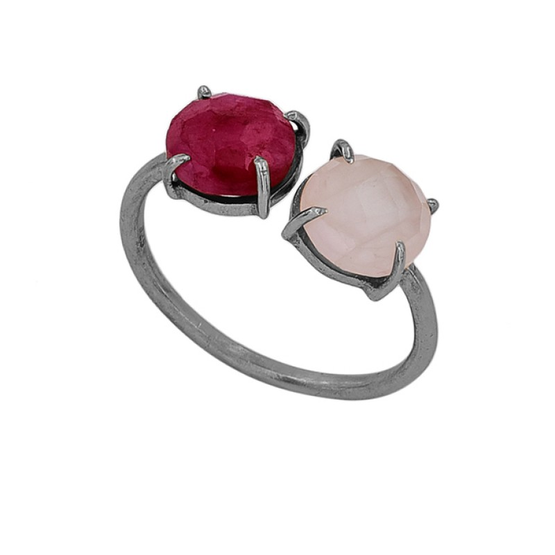 Ruby Rose Chalcedony Gemstone 925 Sterling Silver Gold Plated Ring