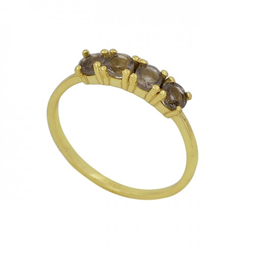 Round Shape Smoky Quartz Gemstone 925 Silver Gold Plated Ring Jewelry