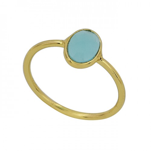 Aqua Chalcedony Oval Shape Gemstone 925 Silver Gold Plated Ring