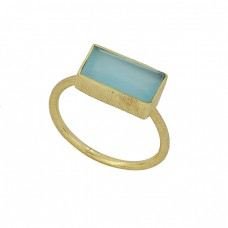 Rectangle Shape Aqua Chalcedony Gemstone 925 Silver Gold Plated Ring