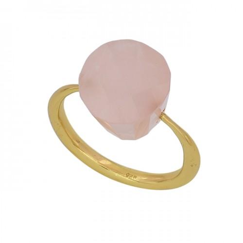 Rose Chalcedony Fancy Shape Gemstone 925 Silver Gold Plated Designer Ring