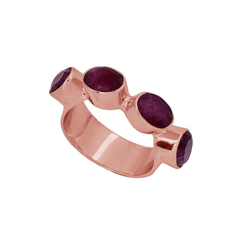 Oval Shape Ruby Gemstone 925 Sterling Silver Gold Plated Designer Ring