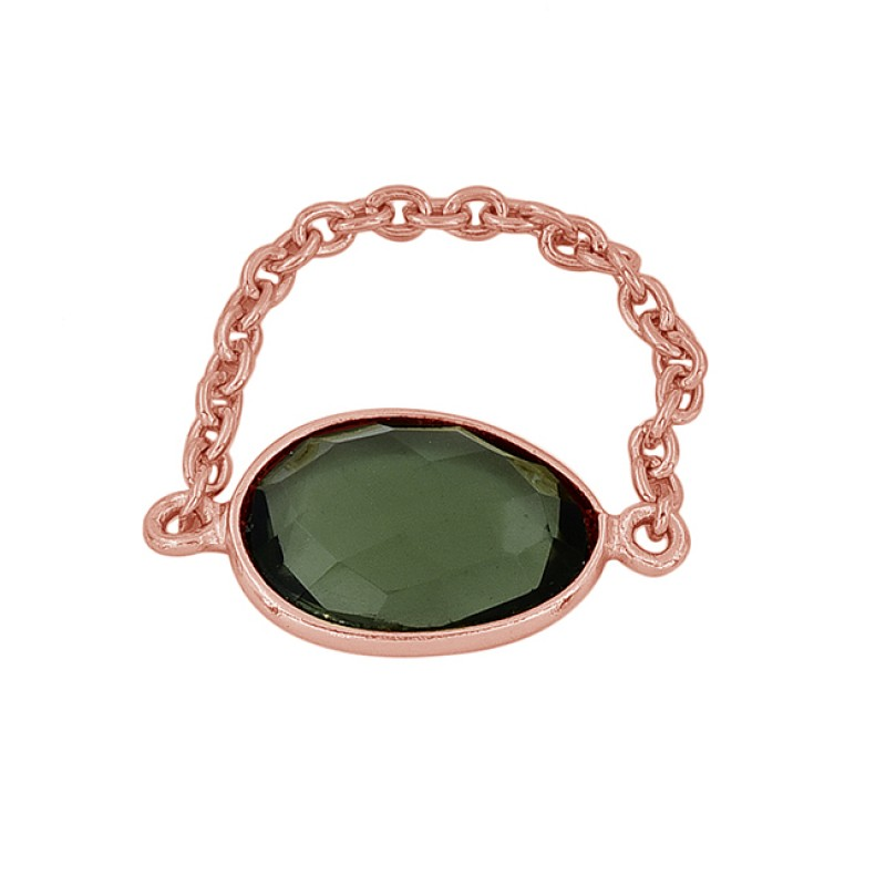 Oval Shape Green Amethyst Gemstone 925 Silver Gold Plated Chain Ring