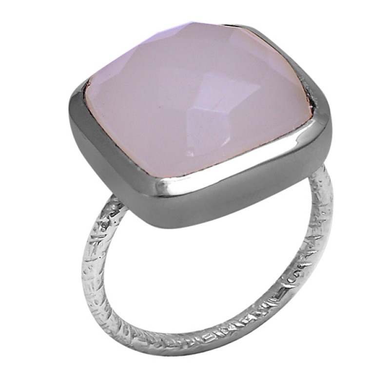 925 Sterling Silver Cushion Shape Rose Chalcedony Gemstone Ring Jewelry