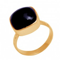 Cushion Shape Black Onyx Gemstone 925 Sterling Silver Gold Plated Ring