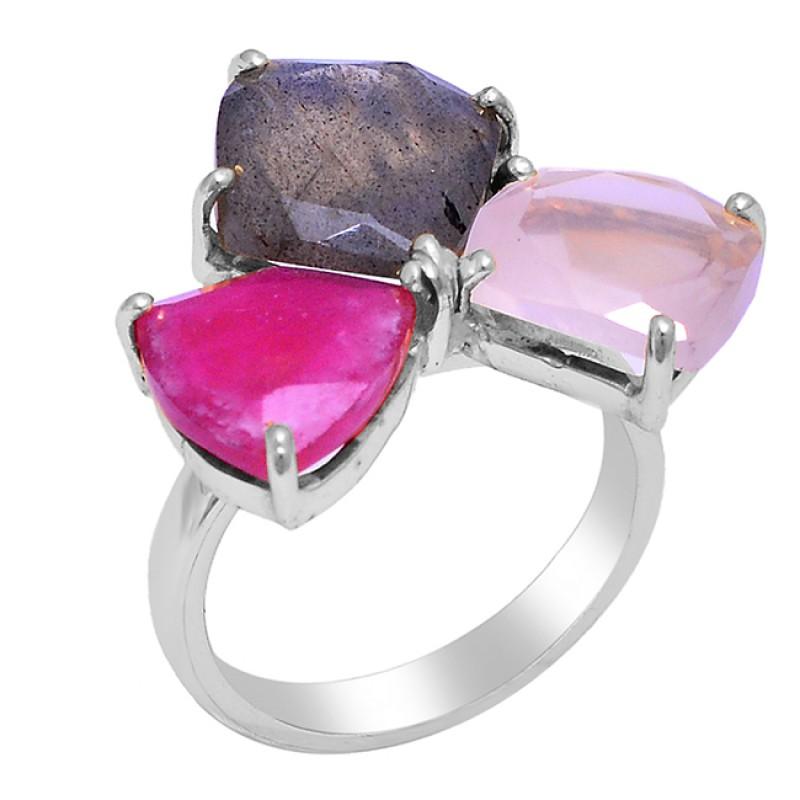 Ruby Labradorite Rose Quartz Gemstone 925 Silver Gold Plated Ring