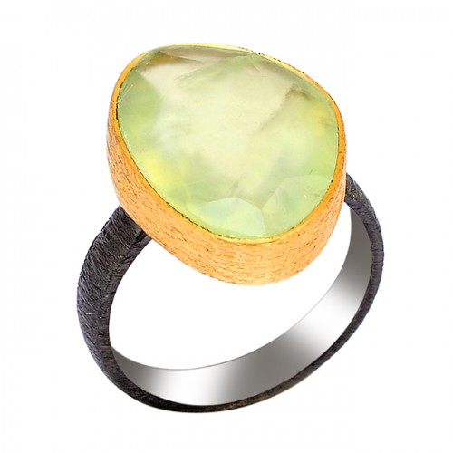Triangle Shape Prehnite Chalcedony Gemstone 925 Silver Gold Plated Ring
