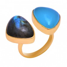 Labradorite Blue Chalcedony Gemstone 925 Silver Gold Plated Ring