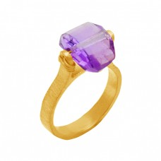 Handmade Designer Amethyst Gemstone 925 Sterling Silver Gold Plated Ring Jewelry