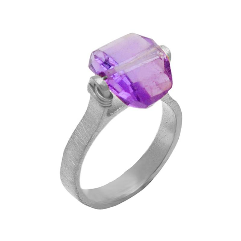 Handmade Designer Amethyst Gemstone 925 Sterling Silver Gold Plated Ring Jewelry