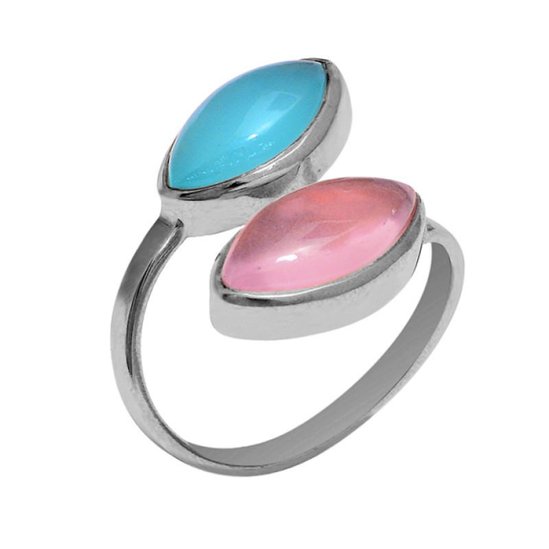 Aqua Rose Color Chalcedony Gemstone 925 Silver Rose Gold Plated Ring