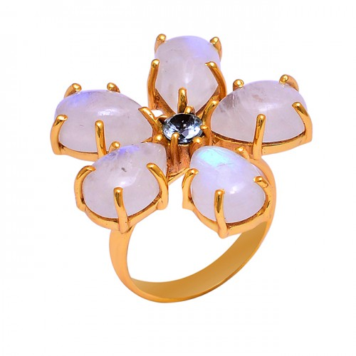Moonstone Topaz Gemstone 925 Sterling Silver Gold Plated Ring Jewelry