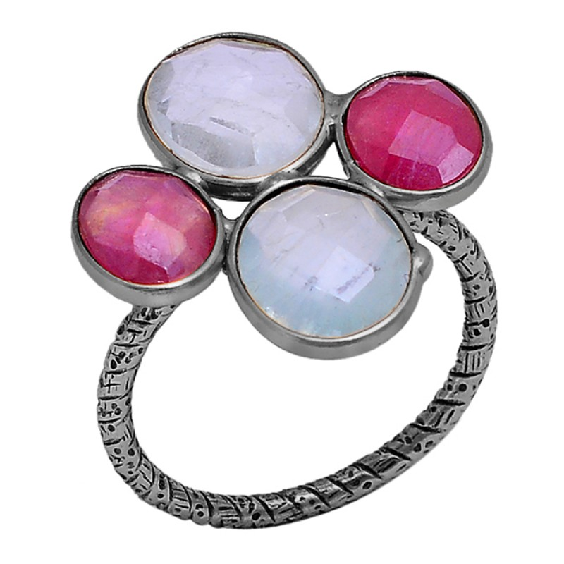 Blue Topaz Ruby Gemstone 925 Sterling Silver Gold Plated Ring Jewelry