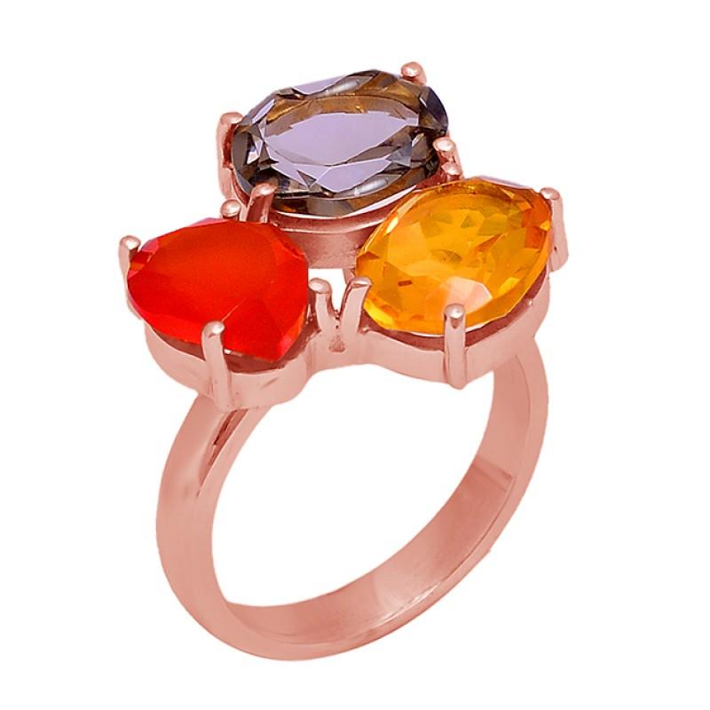 Fanta Quartz Amethyst Citrine Gemstone 925 Silver Gold Plated Ring