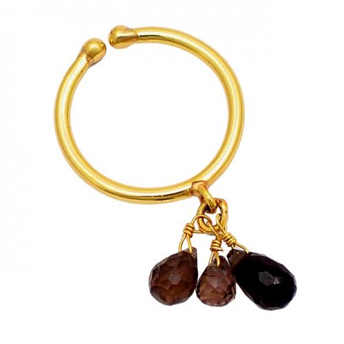 Smoky Quartz Pear Drops Shape Gemstone 925 Silver Gold Plated Ring