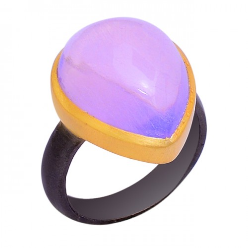 Cabochon Pear Shape Purple Opal Gemstone 925 Silver Black Rhodium Ring