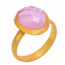 Faceted Oval Shape Rose Chalcedony Gemstone 925 Silver Gold Plated Ring