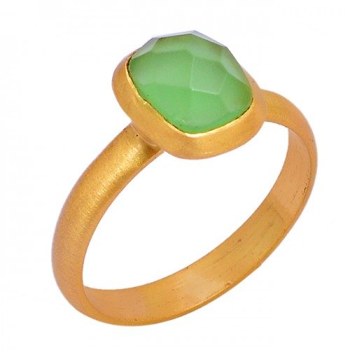 Faceted Cushion Shape Chalcedony Gemstone 925 Silver Gold Plated Ring