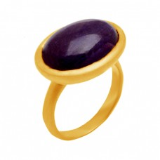 Cabochon Oval Amethyst Gemstone 925 Sterling Silver Gold Plated Fine Jewelry Ring