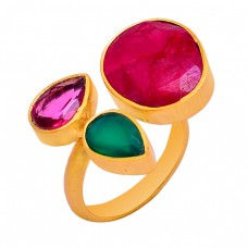 Pink Quartz Green Onyx Ruby Gemstone 925 Sterling Silver Gold Plated Ring