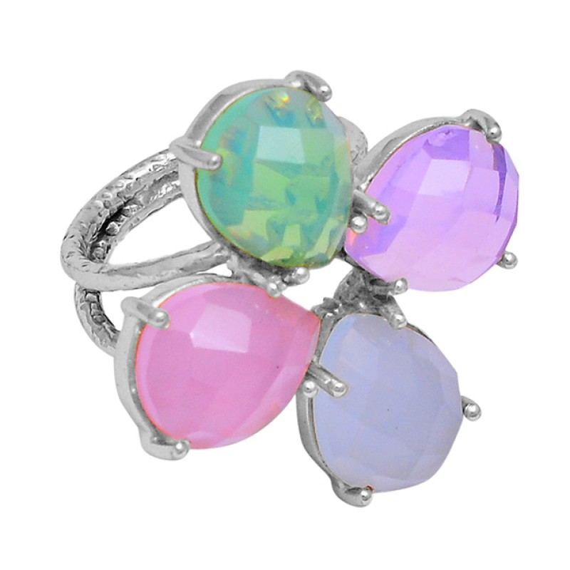 Chalcedony Opal Gemstone 925 Sterling Silver Gold Plated Prong Setting Ring