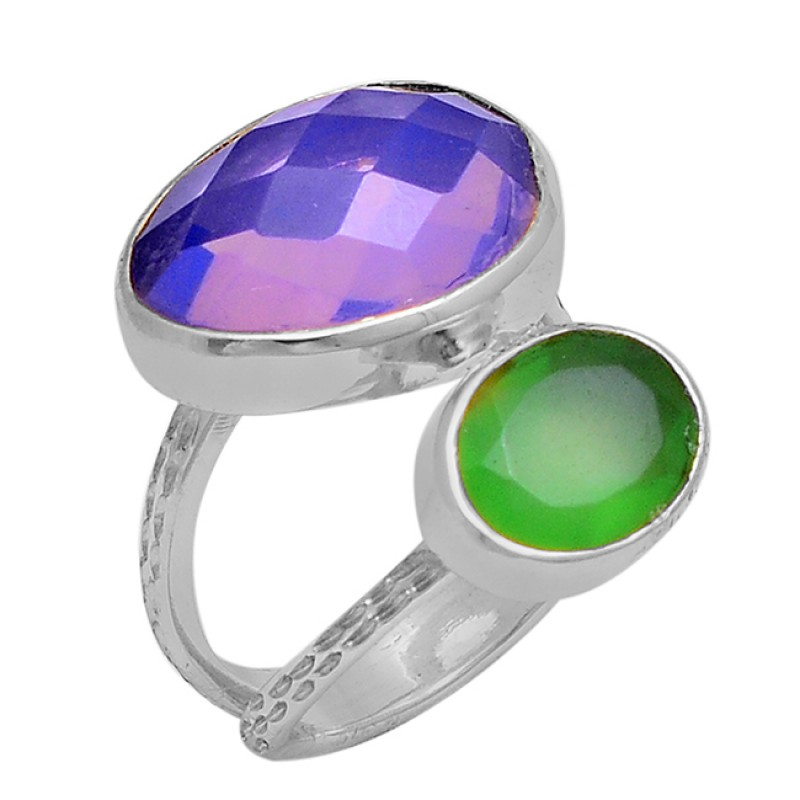 925 Sterling Silver Chalcedony Opal Gemstone Gold Plated Ring Jewelry