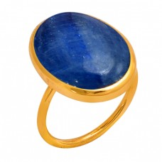 Oval Cabochon Blue Kyanite Gemstone 925 Sterling Silver Gold Plated Ring