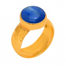 Round Shape Blue Kyanite Gemstone 925 Sterling Silver Gold Plated Ring