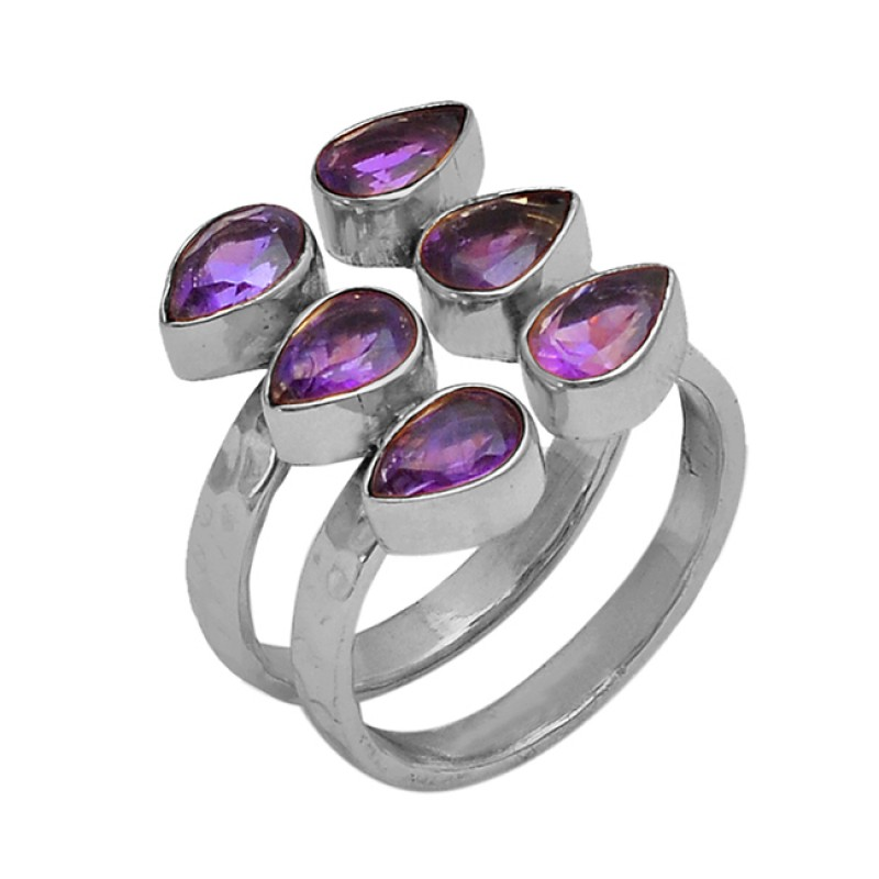 Pear Shape Amethyst Gemstone 925 Sterling Silver Gold Plated Ring