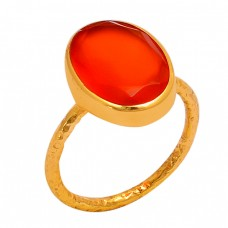 Oval Shape Carnelian Gemstone 925 Sterling Silver Gold Plated Ring
