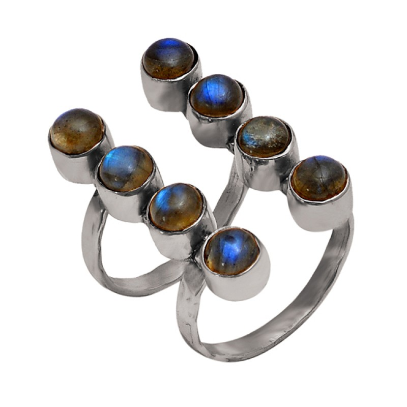 Round Shape Labradorite Gemstone 925 Sterling Silver Gold Plated Ring