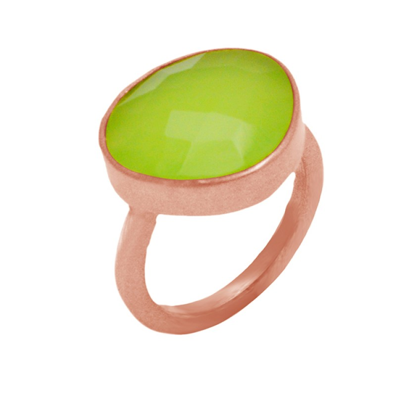 Green Prehnite Chalcedony Fancy Shape Gemstone 925 Sterling Silver Gold Plated Jewelry Ring