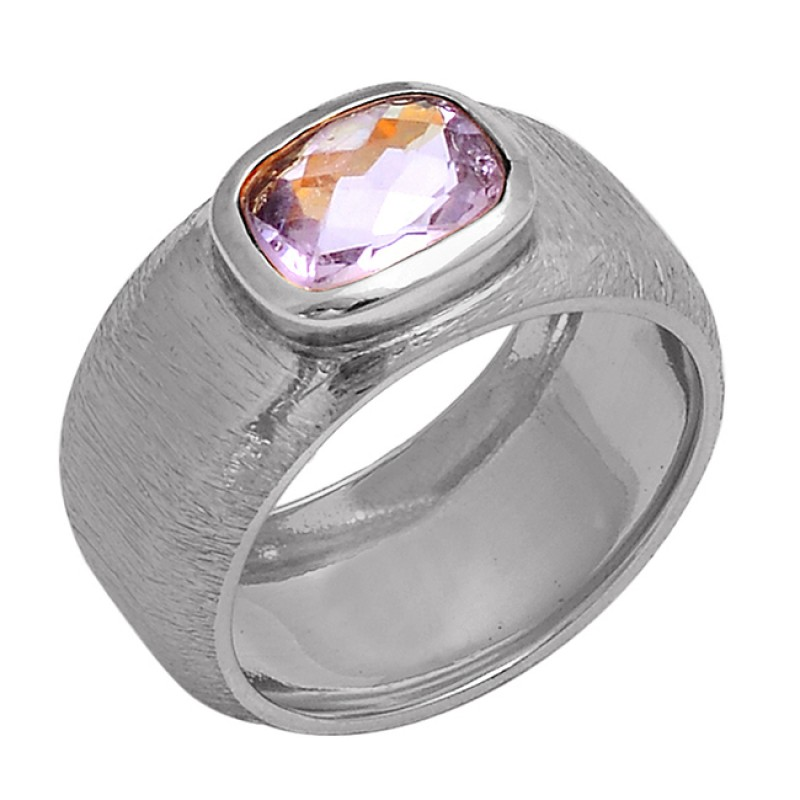 Faceted Oval Shape Amethyst Gemstone 925 Sterling Silver Gold Plated Ring