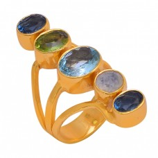 Topaz Peridot Quartz Moonstone 925 Sterling Silver Gold Plated Ring