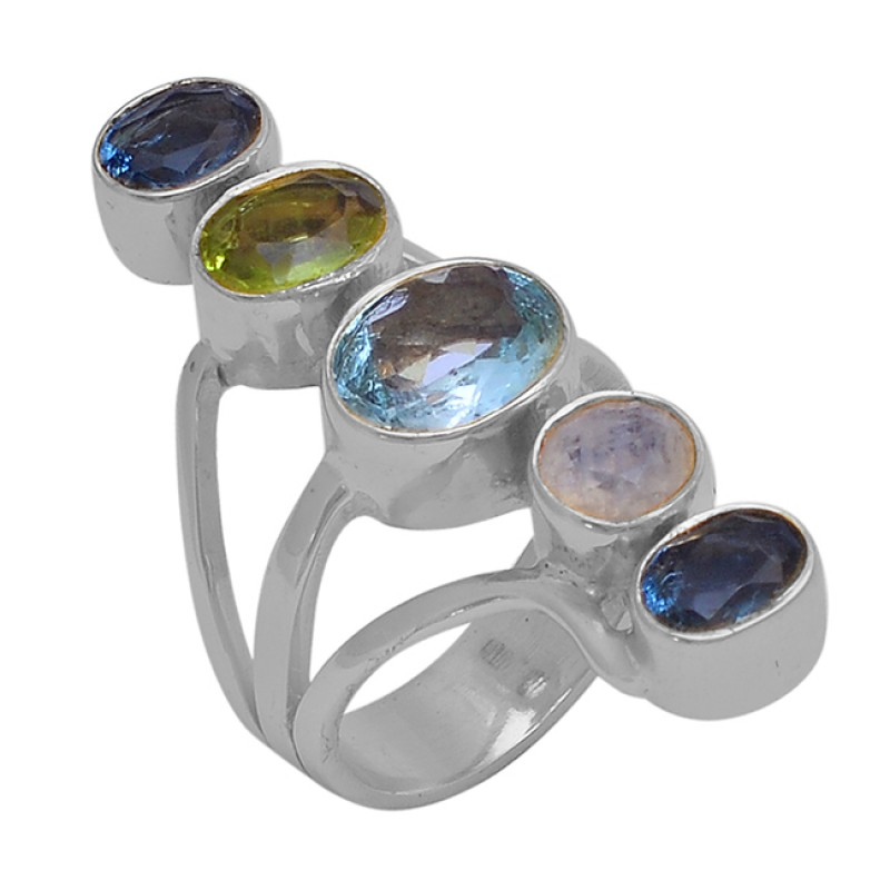 Topaz Peridot Quartz Moonstone 925 Sterling Silver Gold Plated Ring