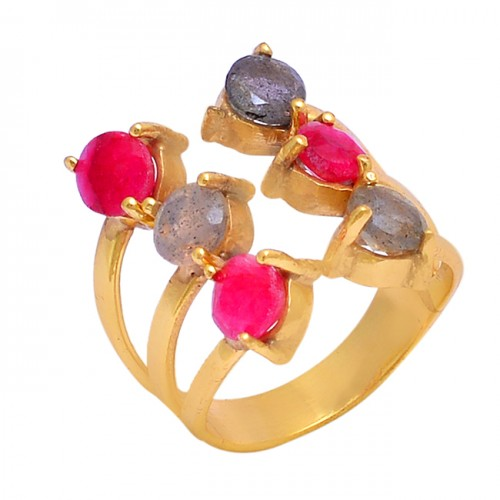 Ruby Labradorite Gemstone 925 Sterling Silver Gold Plated Ring Jewelry