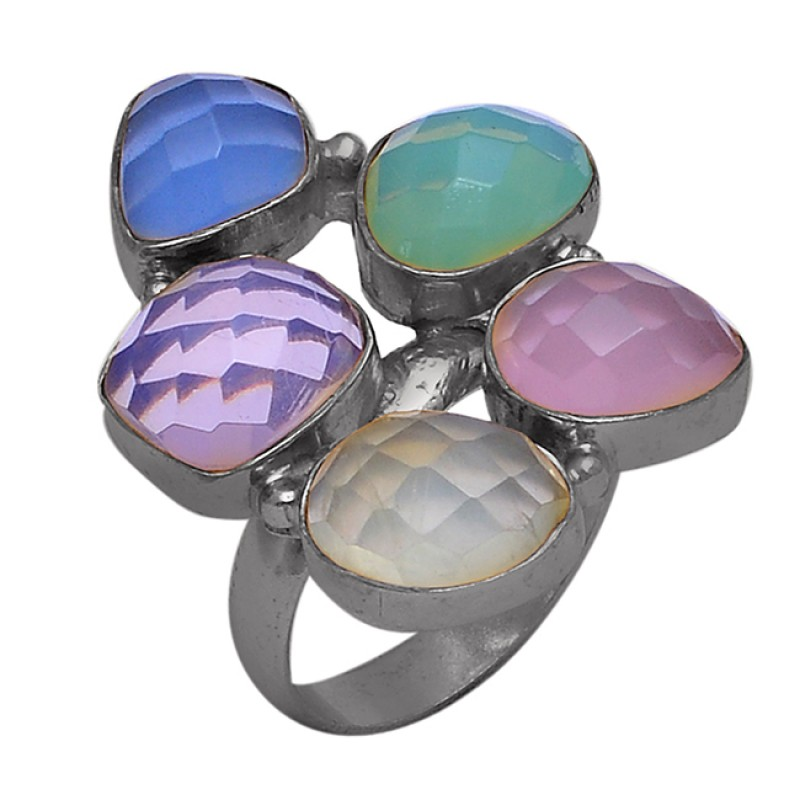 925 Sterling Silver Moonstone Chalcedony Gold Plated Designer Ring