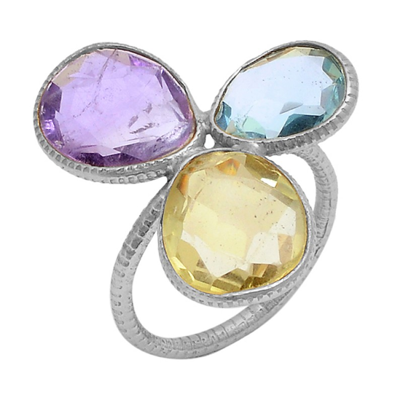 Amethyst Blue Topaz Lemon Quartz Gemstone 925 Silver Gold Plated Ring