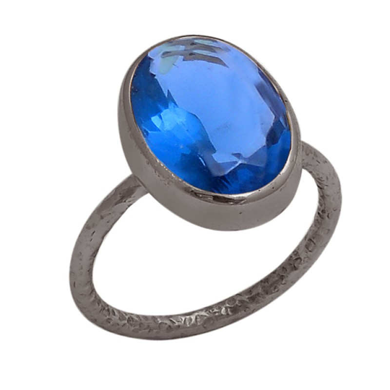Faceted Oval Shape Blue Quartz Gemstone 925 Sterling Silver Gold Plated Ring