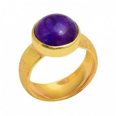 Round Cabochon Amethyst Gemstone 925 Silver Gold Plated Designer Ring
