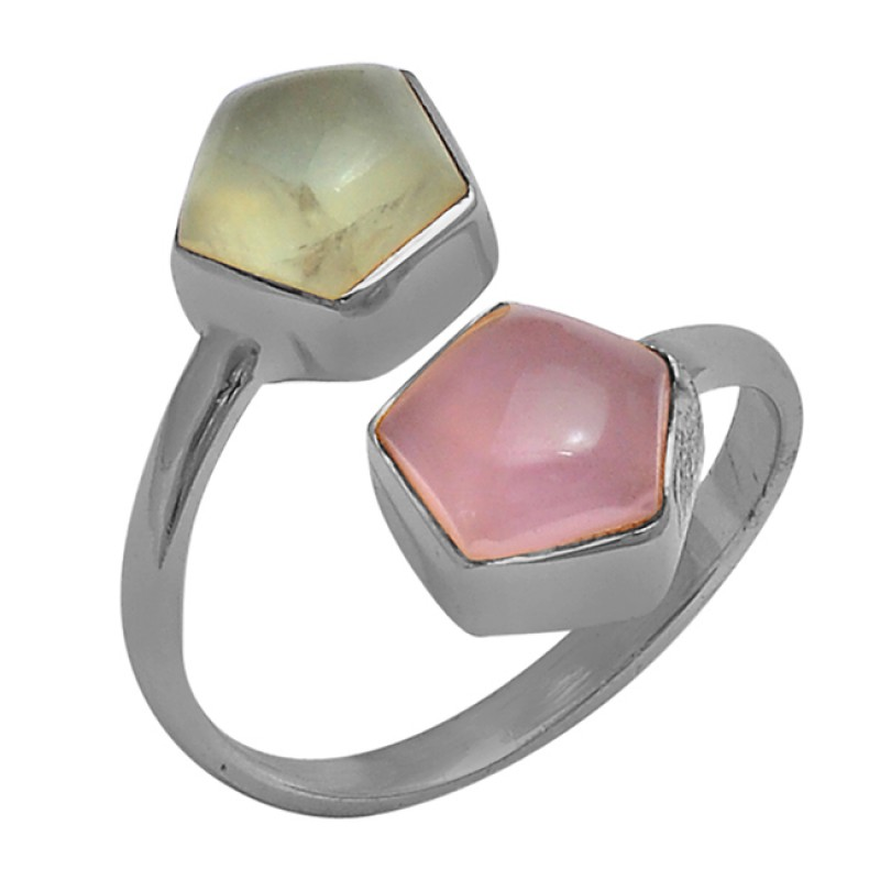Cabochon Fancy Shape Chalcedony Gemstone 925 Silver Gold Plated Ring