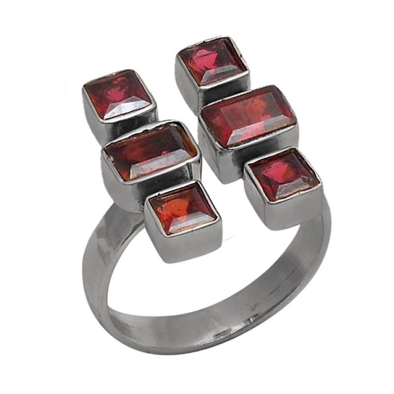 Square Rectangle Shape Garnet Gemstone 925 Sterling Silver Gold Plated Ring