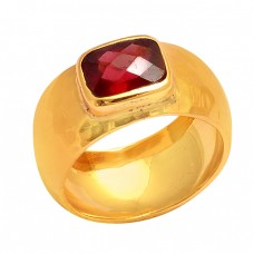 Rectangle Shape Garnet Gemstone 925 Sterling Silver Gold Plated Ring