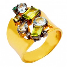 Blue Topaz Green Onyx Peridot Gemstone 925 Sterling Silver Gold Plated Ring Jewelry