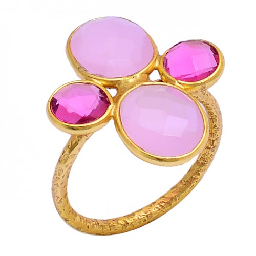 Rose Chalcedony Pink Quartz Gemstone 925 Sterling Silver Gold Plated Ring